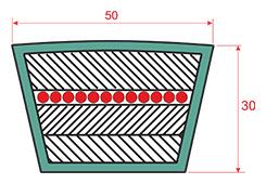Ремень приводной клиновый Е0(Е) сечением 50*30мм