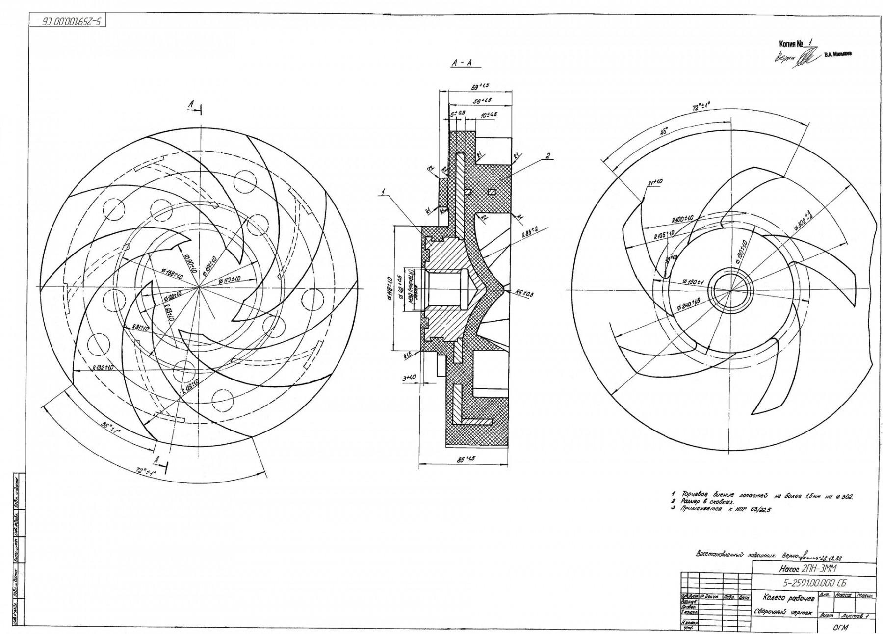 Рабочее колесо для насоса 2ПН-3ММ