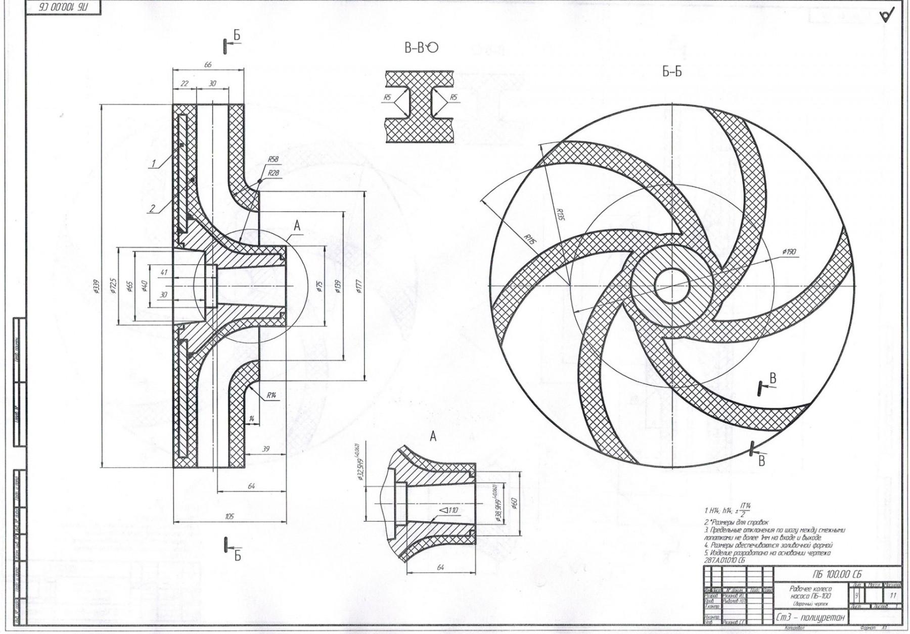 рабочее колесо к насосу 100/31,5 чертеж