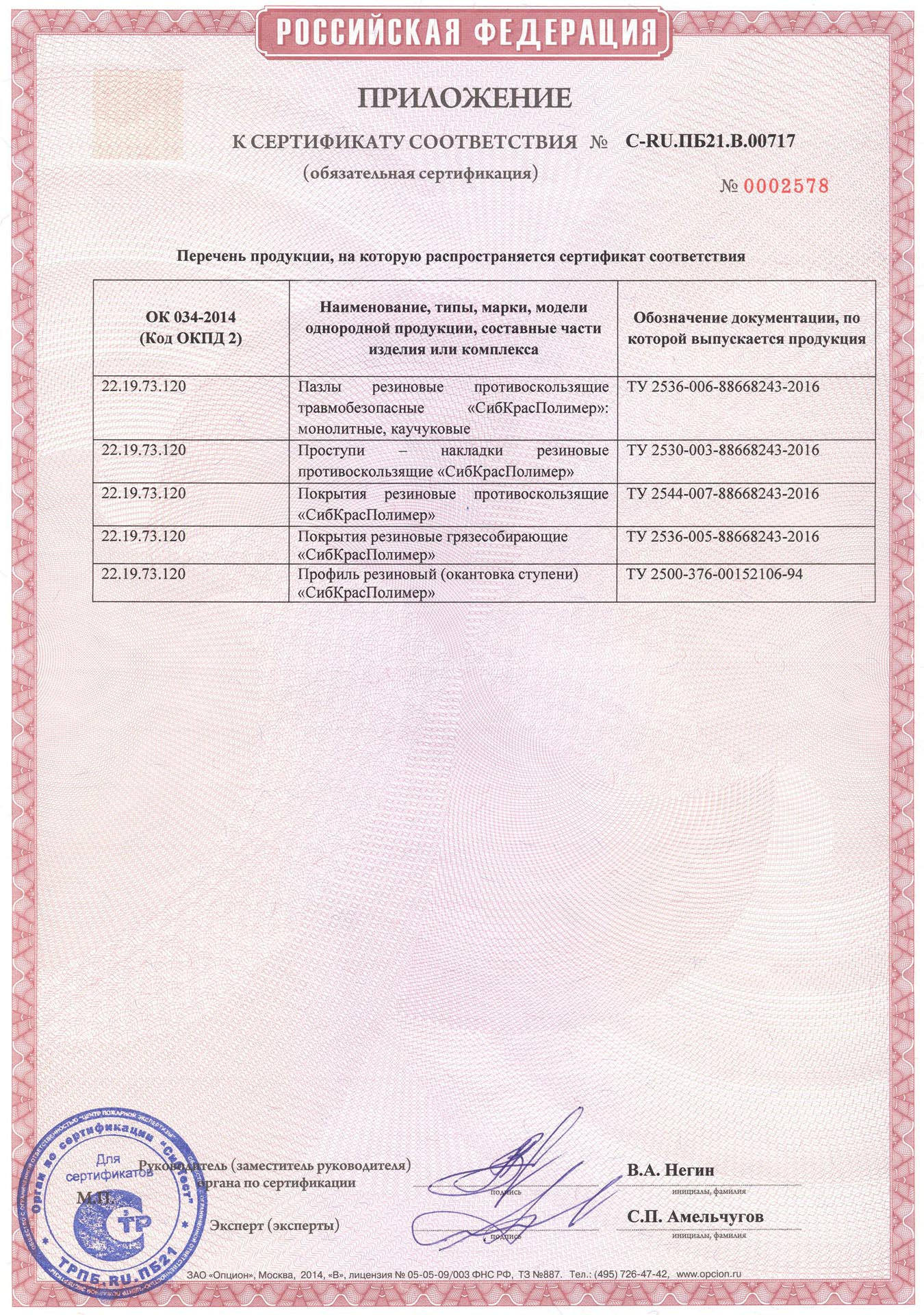 сертификат пожарный сибкрасполимер